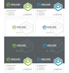 e hexagon business card 2 vector image