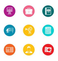 economic training icons set flat style vector image