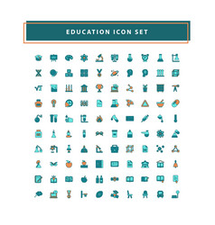 education icons set with filled outline style vector image