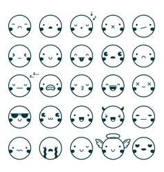 Emoji emoticons black set vector