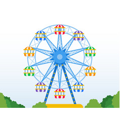Ferris wheel in a park icon flat isolated vector