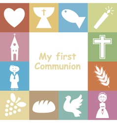 First communion invitation card vector