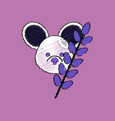 Flat shading style icon koala and plant vector