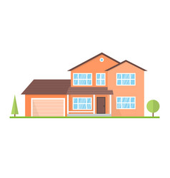 flat suburban american house for web vector image