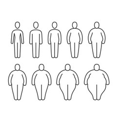 From thin to fat body people pictograms different vector