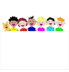 Funny kids together vector
