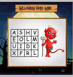 Game halloween find the word of devil vector