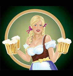 Girl waitress with a beer in hand vector