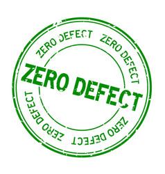 Grunge green zero defect word round rubber seal vector