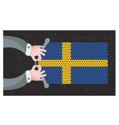 Hand made flag of Sweden vector image