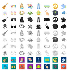 Happy and attribute cartoon icons in set vector
