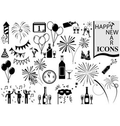 Happy new year icon collection vector