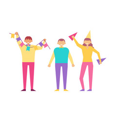 happy people birthday party isolated white vector image