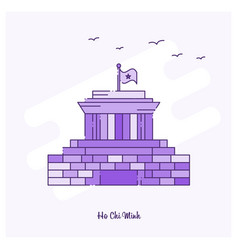 Ho chi minh landmark purple dotted line skyline vector