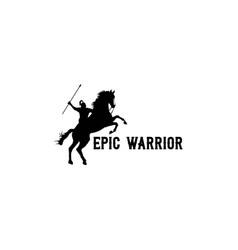 horseback knight silhouette horse warrior vector image