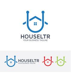 house letter u logo design vector image