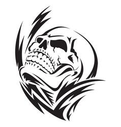 human skull tattoo vintage engraving vector image