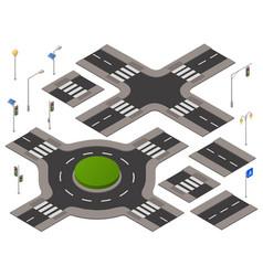 Isometric crossroads set vector