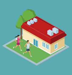 isometric house with green zones vector image