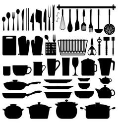 kitchen utensils silhouette a big set kitchen vector image