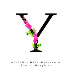 letter y watercolor floral background vector image