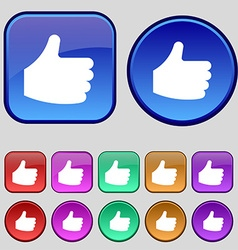 Like Thumb up icon sign A set of twelve vintage vector image