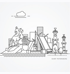 linear saint petersburg russia flat one line style vector image
