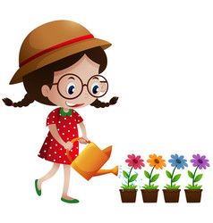 little girl watering the flowers vector image