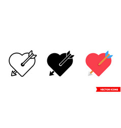 love icon 3 types color black and white vector image