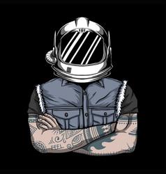 Man helmet astronaut vector