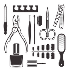 manicure and pedicure equipment objects vector image