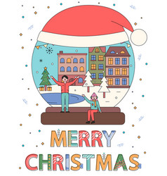 merry christmas snowball with people winter city vector image
