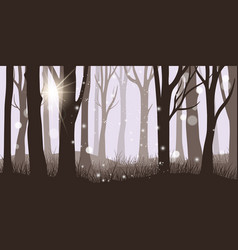 Misty forest background vector
