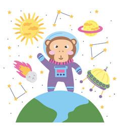 Monkey astronaut icons vector