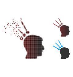 Moving pixel halftone head test connectors icon vector