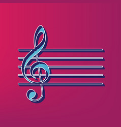 Music violin clef sign g-clef blue 3d vector