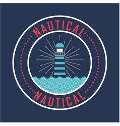 Nautical lighthouse with blue sea nature poster vector