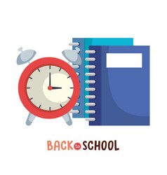 Notebook and alarm clock back to school supply vector