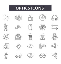 optics line icons signs set outline vector image