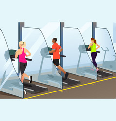 People running on treadmill inside a gym during vector