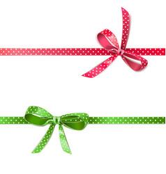 polka dot bow with ribbon vector image
