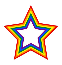 Rainbow pride flag lgbt movement in star shape vector