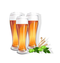 Realistic glass with beer vector
