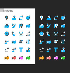 Route icons light and dark theme vector
