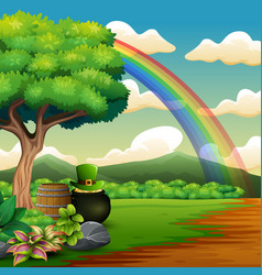 saint patricks day pot of gold and rainbow on the vector image