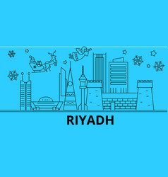 Saudi arabia riyadh winter holidays skyline vector