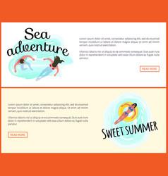 sea adventures sweet summer website online set vector image