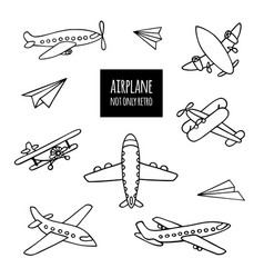 Set airplanes hand-drawn vector