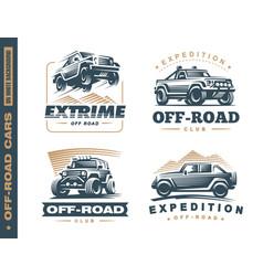 Set four off-road suv car monochrome labels vector