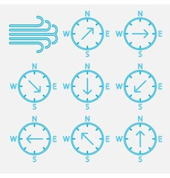 Set icons wind directions vector